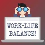 Handschriftstextschreiben Arbeits-Leben-Balance Konzept, das Zeiteinteilung zwischen Funktion oder Familie und Freizeit bedeutet stock abbildung