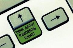 Handschriftstextschreiben denken ungefähr morgen heute Konzeptbedeutung bereiten Ihre Zukunft sich vorstellen jetzt vor, was folg stockbild