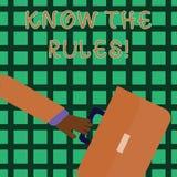 Handschriftstextschreiben kennen die Regeln Konzeptbedeutung verstehen, dass Bedingungen Rechtsberatung von den Rechtsanwälten er lizenzfreie abbildung