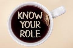 Handschriftstextschreiben kennen Ihre Rolle Konzeptbedeutung definieren Position in Arbeit oder Lebenslauf Lebenziele Active, der Stockbild