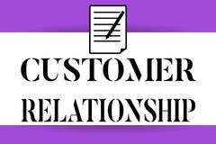 Handschriftstextschreiben Kunden-Verhältnis Konzeptbedeutung Abkommen und Interaktion zwischen Firma und Verbrauchern vektor abbildung