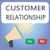 Handschriftstextschreiben Kunden-Verhältnis Konzeptbedeutung Abkommen und Interaktion zwischen Firma und Verbrauchern lizenzfreie abbildung