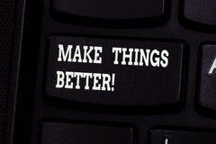 Handschriftstextschreiben machen Sachen besser Die Konzeptbedeutung verbessern etwas oder es attraktivere wertvolle Taste zu mach stockbild