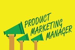 Handschriftstextschreiben Produkt-Vertriebsleiter Konzeptbedeutung die verantwortlich für das Setzen des Planes, um Produkt Handd Stockbild