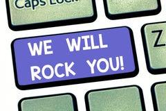Handschriftstextschreiben schaukeln wir Sie Konzept, das Melodieninspirations-Motivation Tastatur des Rockerslogans musikalische  lizenzfreie stockbilder