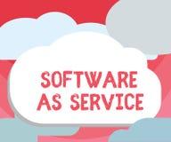 Handschriftstextschreiben Software als Service Konzept, das Bedarfs- genehmigt auf Abonnement und zentral bewirtet bedeutet vektor abbildung