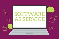 Handschriftstextschreiben Software als Service Konzept, das Bedarfs- genehmigt auf Abonnement und zentral bewirtet bedeutet stock abbildung