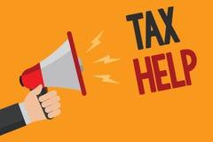 Handschriftstextschreiben Steuer-Hilfe Konzeptbedeutung Unterstützung vom obligatorischen Beitrag zum Staatseinnahmen Mann, der m stock abbildung