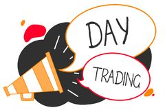 Handschriftstextschreiben Tageshandel Konzeptbedeutungswertpapiere, die speziell Finanzinstrumente Megaphon L kaufen und verkaufe lizenzfreie abbildung