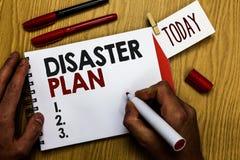 Handschriftstextschreiben Unfall-Plan Konzeptbedeutung reagieren auf Notbereitschafts-Überleben und erste Hilfe Kit Man, der m hä stockfotografie
