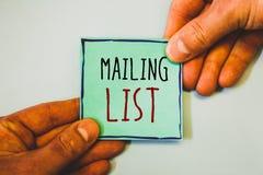 Handschriftstextschreiben Verteilerlisten-Konzeptbedeutung Namen und Adressen von Leuten werden Sie etwas senden Lizenzfreies Stockfoto