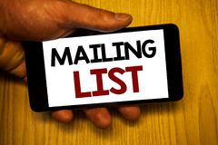 Handschriftstextschreiben Verteilerlisten-Konzeptbedeutung Namen und Adressen von Leuten werden Sie etwas senden Stockbilder