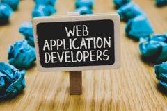 Handschriftstextschreiben Web-Anwendungs-Entwickler Konzeptbedeutung Internet-Programmierungsexperten Technologie-Software stockfotografie