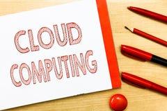 Handschriftstextschreiben Wolken-Datenverarbeitung Konzeptbedeutungsgebrauch ein Netz von den Fernservern im Internet bewirtet stockbild