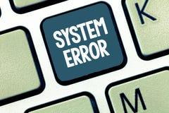HandschriftsTextverarbeitungssystem-Fehler Konzept, das technologischen Ausfall Software-Einsturzabbruch Informationsverlust bede stockfoto