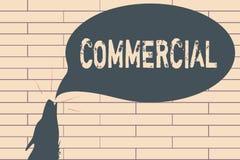 Handschrifttekst Commercieel schrijven De conceptenbetekenis betreffende of bezet in handel bedoelde winst te maken royalty-vrije illustratie