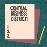 Handschrifttekst die Centraal Bedrijfsdistrict schrijven Concept commercieel betekenen en commercieel centrum van een stadsstapel royalty-vrije illustratie