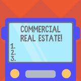 Handschrifttekst die Commercieel Real Estate schrijven Concept die bezit betekenen dat alleen voor bedrijfsdoeleinden wordt gebru royalty-vrije illustratie