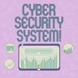 Handschrifttekst die Cyber-Veiligheidssysteem schrijft Concept die Technieken om computers tegen Digitaal binnendringen in een be vector illustratie