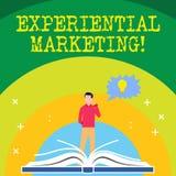 Handschrifttekst die Ervarings Marketing schrijven Concept die op de markt brengend strategie betekenen die de Mens direct van de royalty-vrije illustratie