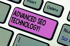 Handschrifttekst die Gevorderd Seo Technology schrijven Concept die die Strategie betekenen wordt gebruikt om consumenten aan het royalty-vrije stock foto's