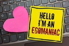 Handschrifttekst die Hello schrijven ben ik een Egomaniac Concept die Egoïstisch Egocentrisch Narcissist zelf-Gecentreerd die Ego stock afbeelding