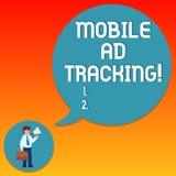 Handschrifttekst die het Mobiele Advertentie Volgen schrijven De monitormerk van de conceptenbetekenis perforanalysisce met inbeg stock afbeelding