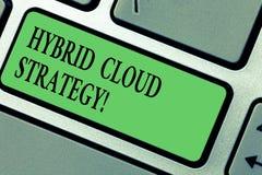 Handschrifttekst die Hybride Wolkenstrategie schrijven Concept die Wolk gegevensverwerking het plaatsen betekenen die een mengeli stock afbeelding