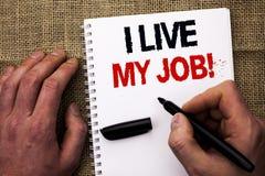 Handschrifttekst die I Live My Job Motivational Call schrijven Concept het betekenen is onderdompelt en houdt binnen van het Werk Stock Fotografie