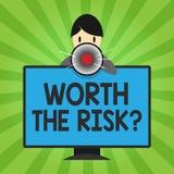 Handschrifttekst die met een waarde van de Risicokwestie schrijven Concept die vragend betekenen of bracht bepaalde actie met zij stock illustratie