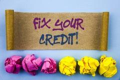 Handschrifttekst die Moeilijke situatie Uw Krediet tonen Concept die Slechte die Scoreclassificatie Avice Fix Improvement Repair  vector illustratie