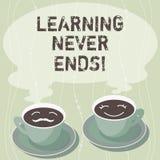 Handschrifttekst die nooit Lerend Einden schrijven Het concept die kennis betekenen heeft geen eind of eindeloos het laatst voor  stock illustratie