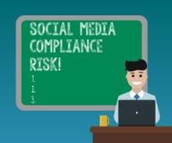 Handschrifttekst die Sociaal Media Nalevingsrisico schrijven Concept die Risico'sanalysisagement op de online het delen van Inter royalty-vrije stock fotografie