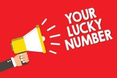 Handschrifttekst die Uw Lucky Number schrijven Het concept die het geloven in van de de Verhogingskans van het brievenfortuin het Stock Afbeeldingen