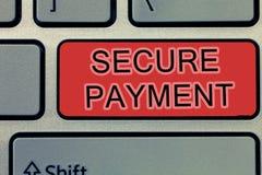 Handschrifttekst die Veilige Betaling schrijven Het concept die Veiligheid van Betaling betekenen verwijst om van betaald zelfs i royalty-vrije stock fotografie