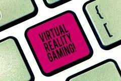 Handschrifttekst die Virtueel Werkelijkheidsgokken schrijven Concept die toepassing van virtuele omgeving betekenen aan computers stock fotografie