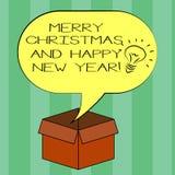 Handschrifttekst die Vrolijke Kerstmis en Gelukkig Nieuwjaar schrijven Concept die het Idee van de groetenvieringen van het Vakan royalty-vrije illustratie