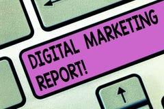 Handschrifttekst Digitaal Marketing Rapport De Reeks van de conceptenbetekenis gegevens die perforanalysisce van zaken tonen stock foto