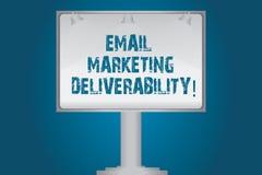 Handschrifttekst E-mail die Deliverability op de markt brengen Concept die Capaciteit betekenen om e-mail aan abonnees Lege Lamp  vector illustratie