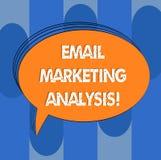 Handschrifttekst E-mail Marketing Analyse Concept die Onderzoekend het verzenden van berichten naar klanten Leeg Ovaal Geschetst  vector illustratie