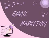 Handschrifttekst E-mail Marketing Concept die Verzendend een commercieel bericht naar een groep die mensen post gebruiken beteken vector illustratie