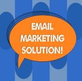 Handschrifttekst E-mail Marketing Oplossing Concept die helpend klanten om hun problemen Leeg Ovaal Geschetst Vast lichaam op te  royalty-vrije illustratie