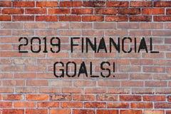 Handschrifttekst 2019 Financiële Doelstellingen Het concept die Nieuwe bedrijfsstrategie betekenen verdient meer winsten minder i stock afbeelding