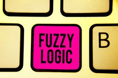 Handschrifttekst Fuzzy Logic De conceptenbetekenis controleert omvang van vuil en vethoeveelheid zeep en watertoetsenbord roze ze royalty-vrije stock foto's