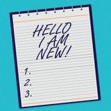 Handschrifttekst Hello ben ik Nieuw Het concept die Introducerend aan het onbekende tonen newbie in het team voerde Spiraal betek stock foto's