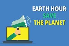 Handschrifttekst het schrijven het Aardeuur bewaart de Planeet Concept die de Lichten betekenen van EventMovement door WWF elk Ma vector illustratie