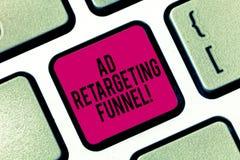 Handschrifttekst het schrijven Advertentie die Trechter opnieuw cibleren Het concept die Strevend relevante advertenties aan die  stock fotografie