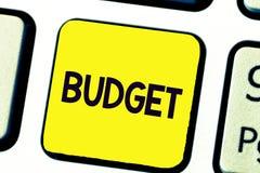 Handschrifttekst het schrijven Begroting Conceptenbetekenis bepaalde raming van inkomen en uitgaven voor vastgestelde periode royalty-vrije stock afbeeldingen
