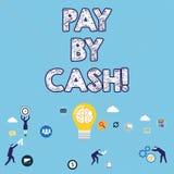 Handschrifttekst het schrijven betaalt door Contant geld Concept die Klant betekenen die met geldmuntstukken rekeningen betalen d stock illustratie