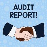 Handschrifttekst het schrijven Controleverslag Concept die Geschreven advies van een auditor over bedrijven financi?le status bet royalty-vrije illustratie